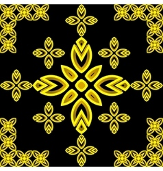 Golden pattern Leaves and flowers Tiled ornament vector image