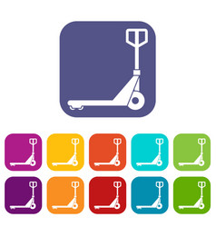Hand truck icons set vector