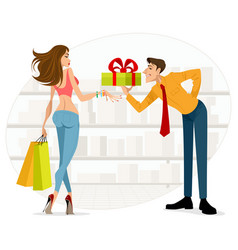 man handing woman a gift vector image vector image