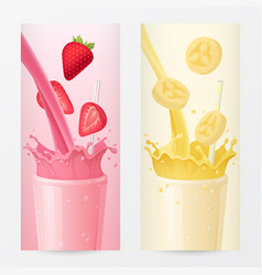 milkshake banners with strawberry and banana vector image vector image