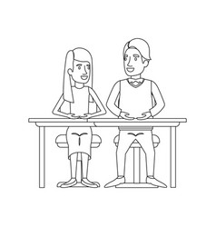monochrome silhouette of teamwork of woman and man vector image