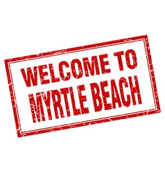 Myrtle beach red square grunge welcome isolated vector
