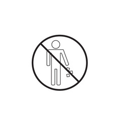 no littering line icon no trash prohibited sign vector image vector image
