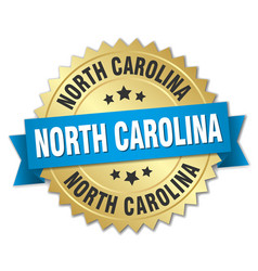 North carolina round golden badge with blue ribbon vector