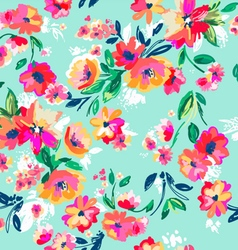 Painted floral seamless print vector
