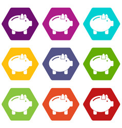 Piggy bank icon set color hexahedron vector