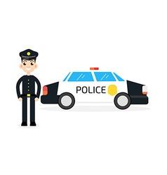 Police car with policeman vector