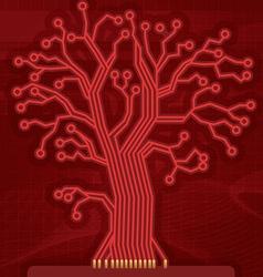 Red Digital Circuit Tree vector image