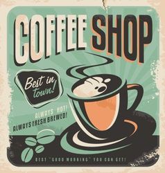 Retro poster for coffee shop vector image