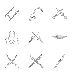 Samurai icons set outline style vector