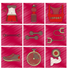 set of flat shading style icons fitness equipment vector image vector image