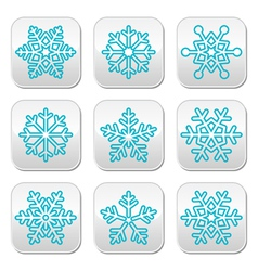 Snowflakes winter blue decoration buttons set vector