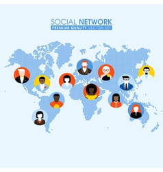 Social network flat concept with people on map vector