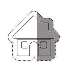 sticker of monochrome contour of house with two vector image vector image