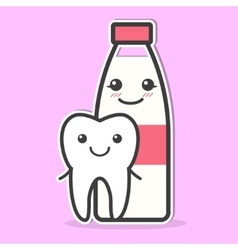 Tooth and milk are friends vector