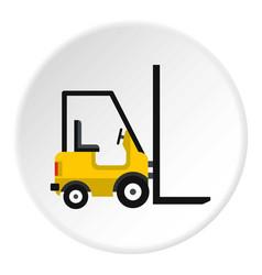 Yellow stacker loader icon circle vector