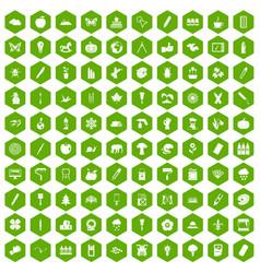 100 eco design icons hexagon green vector