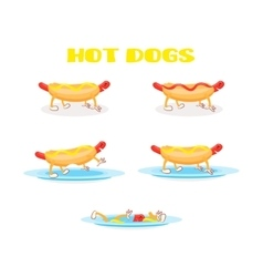 Hot dog set vector