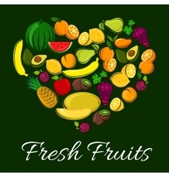 Fresh fruits heart shape poster vector