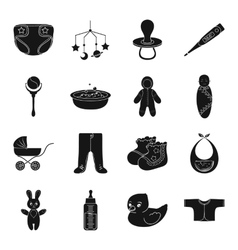 Baby born set icons in black style big collection vector