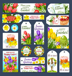 Easter holiday cartoon tag and label set design vector