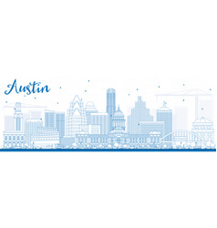 Outline austin skyline with blue buildings vector