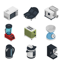 Kitchen appliances icons set vector