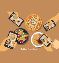 People take a photo of food with smartphone vector