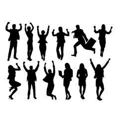 Excited businessmen happy jumping silhouettes vector