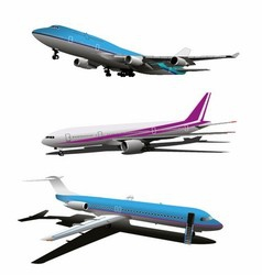 Set of art commercial plane vector