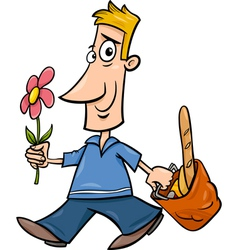 Man with flower cartoon vector