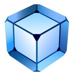 Blue glass cube vector