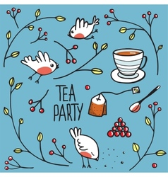Garden tea party with birds twigs and berries vector