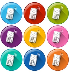 Circle buttons with cellphones vector