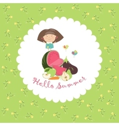 Cute girl with fruits and vegetables hello summer vector