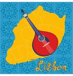 Tipical portuguese fado guitar over lisbon map and vector