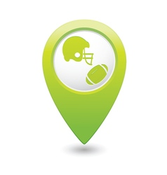 Map pointer with american football icon vector