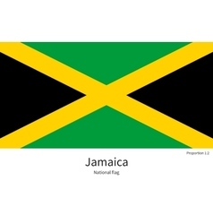 National flag of jamaica with correct proportions vector
