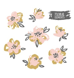 Set of stylish grunge pink and gold flowers vector