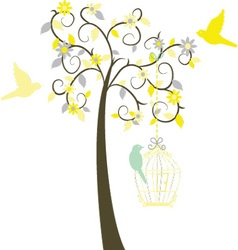Love tree with birds vector