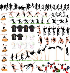 88 Sport Silhouettes and T-shirts Set vector image vector image