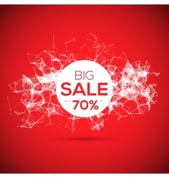 Sale poligonal geometric banner on red background vector