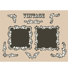 Vintage borders set vector