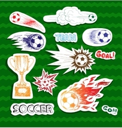 Soccer sketch stickers vector