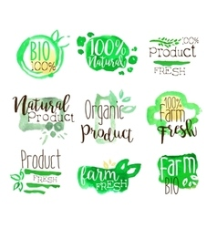 Healthy bio food promo signs colorful set vector