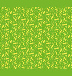 Abstract yellow flowers and leaves on a green vector