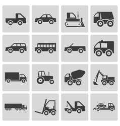 black vehicle icons set vector image vector image