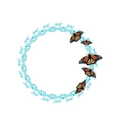 Butterfly on round frame vector image