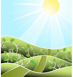 cartoony floral scenery vector image