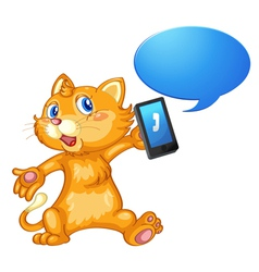 Cat with cell phone vector